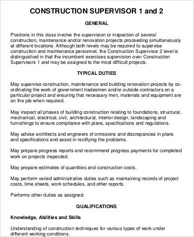 construction supervisor job description