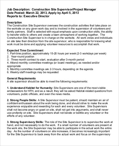 Construction Job Description Sample   Examples In Word Pdf