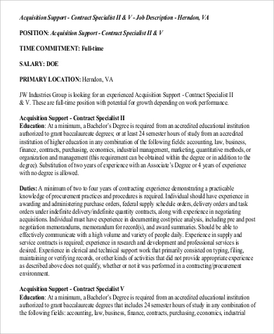 contract support specialist job description
