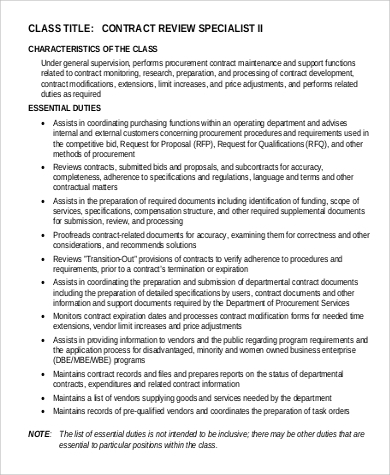 Contract Specialist Job Description Sample   Examples In Pdf