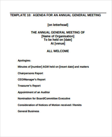 Sample Meeting Agenda  Free Sample Example Format Download