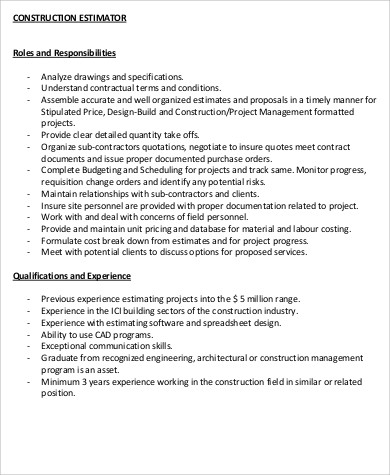 construction estimator resume sle 28 images