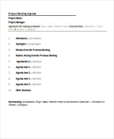 project meeting agenda sample