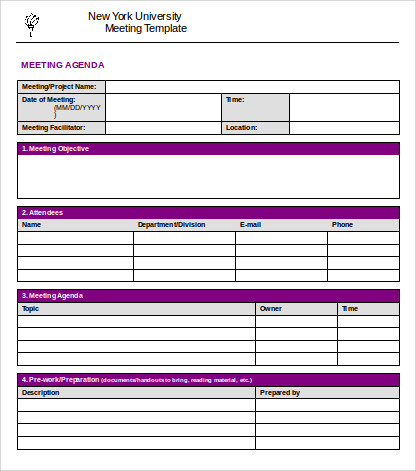 simple project business agenda