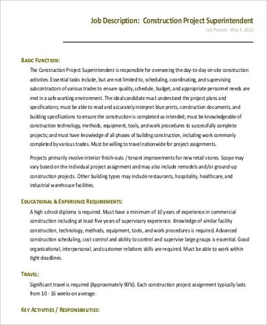 construction project superintendent job description
