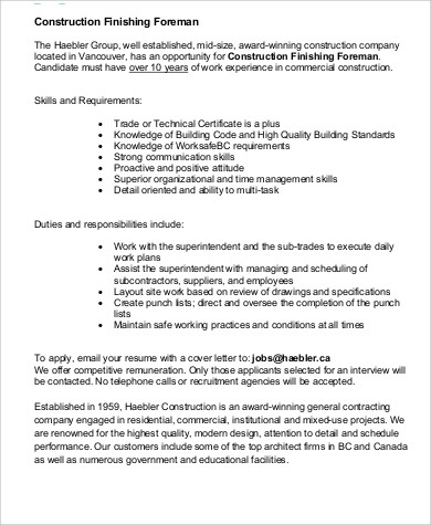 Delightful Construction Foreman Construction Superintendent Job Description Related  Articles