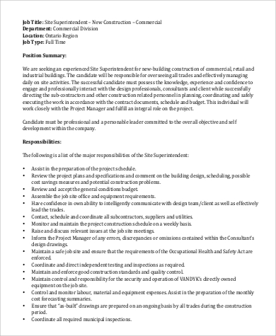 Exceptional Free Construction Site Superintendent Job Description