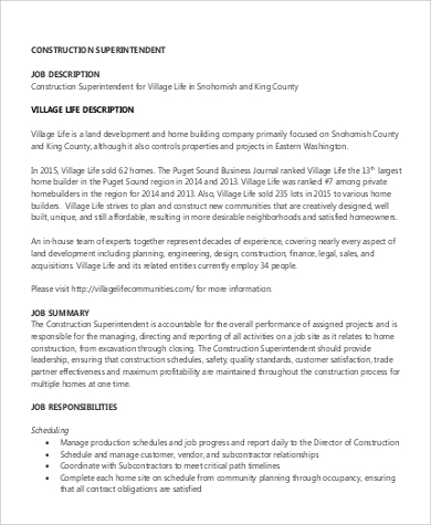 CONSTRUCTION SUPERINTENDENT VILLAGE LIFE DESCRIPTION U2026