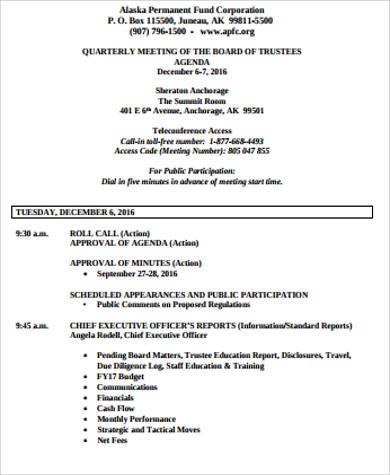 board of trustees meeting agenda sample