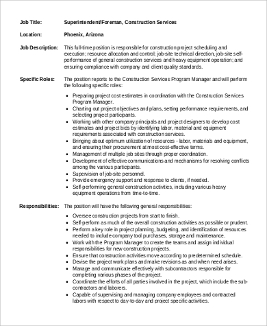 Construction Superintendent Job Description Sample - 9+ Examples ...
