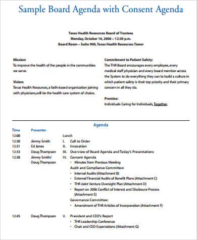 board meeting consent agenda pdf