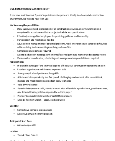 Nice Civil Construction Superintendent Job Description Format