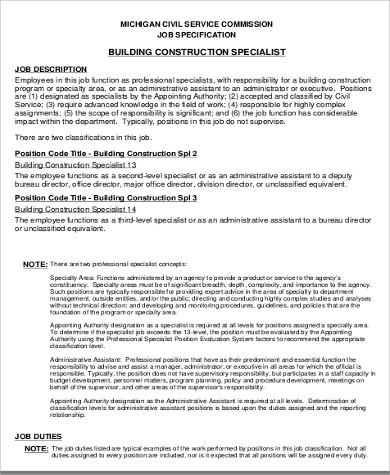 Construction Worker Job Description Sample - 7+ Examples In Word, Pdf