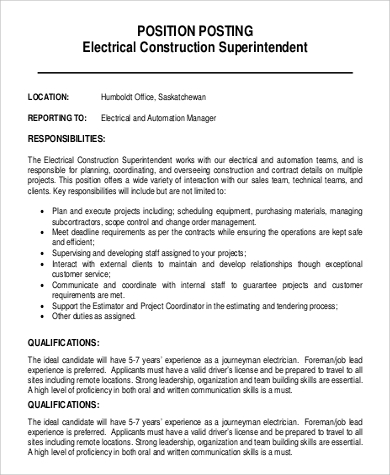 electrical construction superintendent job description electrician duties