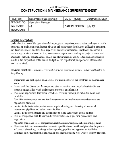 Superintendent | DAVRON This Construction Manager Job Description Template  Is Optimized For Posting In Online Job Boards Or Careers Pages And Easy To  ...