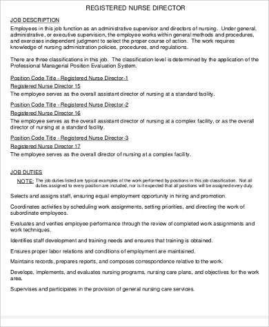 Director Of Nursing Job Description Sample   Examples In Word Pdf