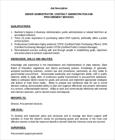 senior contract administrator job description sample - Job Description For Benefits Administrator