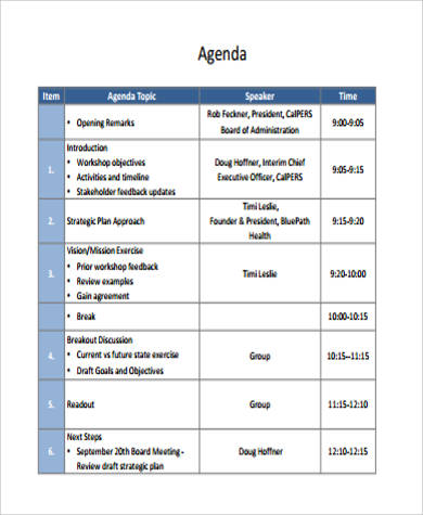 Strategic Planning Workshop Agenda  Format Of An Agenda