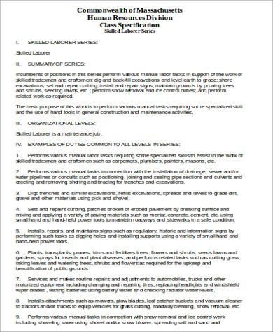 skilled laborer construction job description example 2