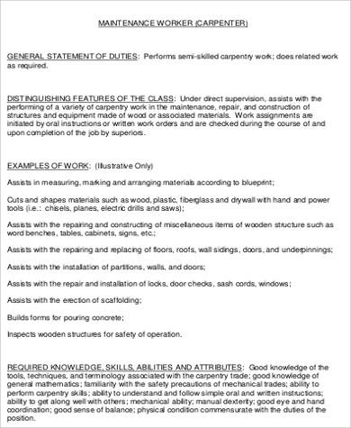 construction maintenance worker job description