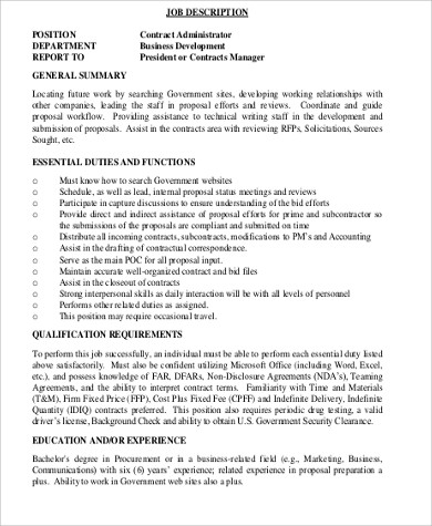 resume of director of contracts administration