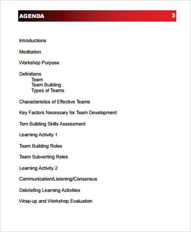 team building workshop agenda