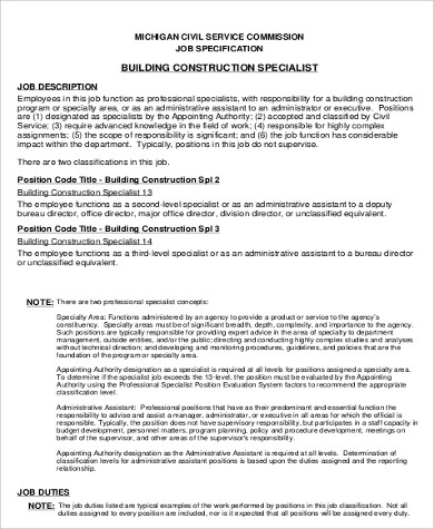 Good Sample Civil Construction Specialist Job Description