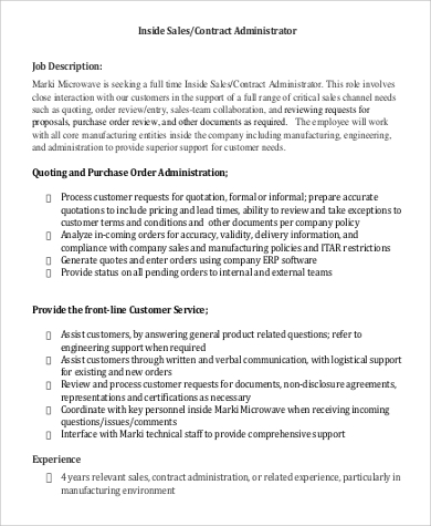 Contract Administrator Job Description Sample - 8+ Examples In Pdf