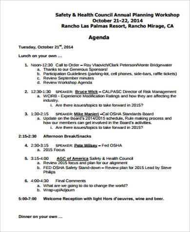 annual planning workshop agenda