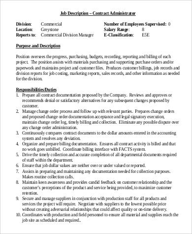 contract administrator job description responsibilties