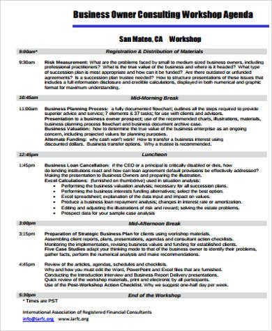 consulting workshop agenda