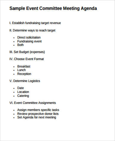 agenda for a meeting sample