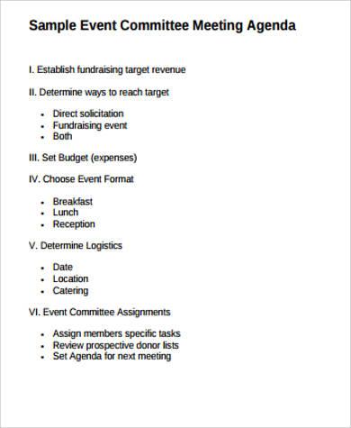 event committee meeting agenda
