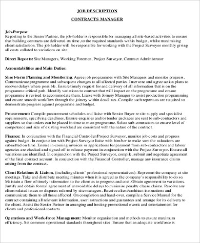 Contractor Job Description Sample   Examples In Word Pdf