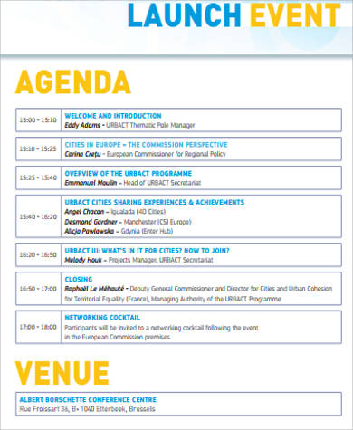 Event Agenda Sample  Free Sample Example Format Download