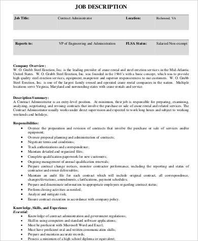 Contractor Job Description Sample - 10+ Examples In Word, Pdf