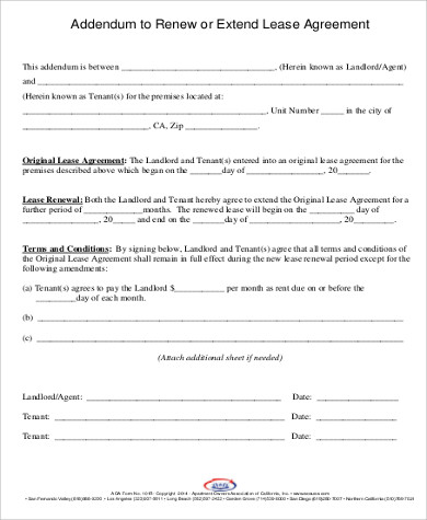 Lease Extension Form Notice Of Lease Termination Eviction Notice
