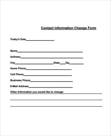 contact information change form example