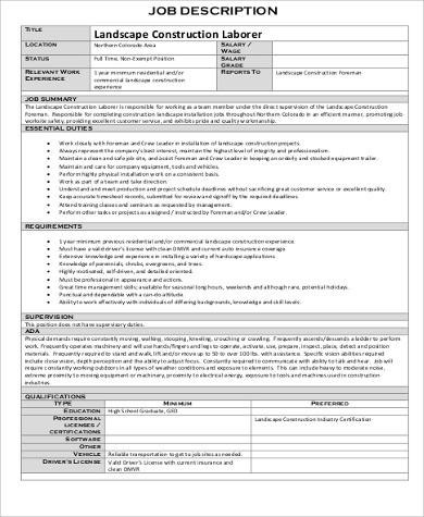 Construction Laborer Job Description Sample   Examples In Word Pdf