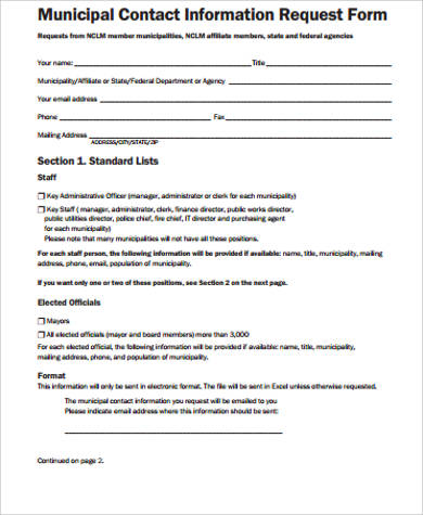 Sample Contact Information Form - 12+ Examples in Word, PDF