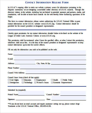 contact information release form