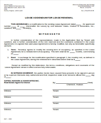 9 sample lease renewal forms sample templates for Tenancy agreement renewal template