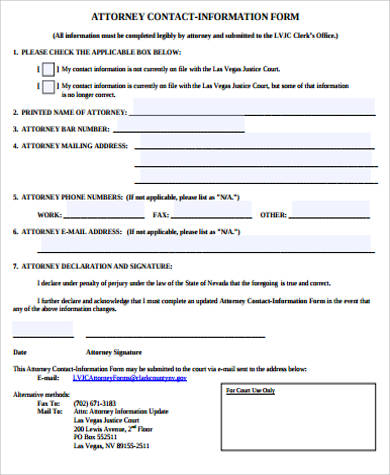 attorney contact information form