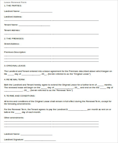standard lease renewal form