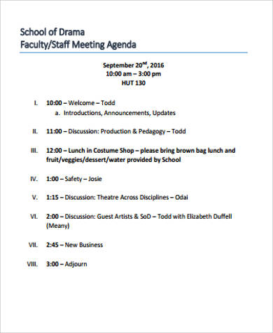 8+ Sample Staff Meeting Agenda - Free Sample, Example, Format Download
