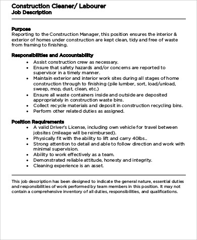 Construction Laborer Job Description Sample - 8+ Examples In Word, Pdf