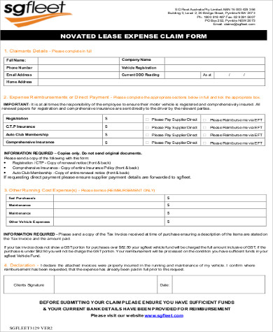 lease expense claim form