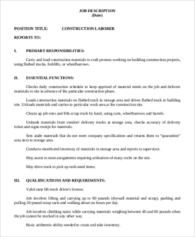 Merveilleux Construction Craft Laborer Job Description Sample