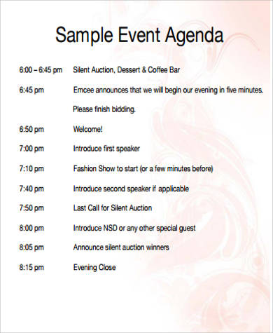 free printable event agenda