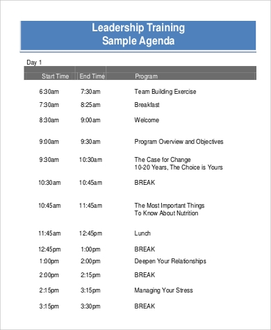 Sample Training Agenda - 9+ Examples In Pdf, Word